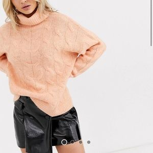Bershka roll neck cable knitted sweater